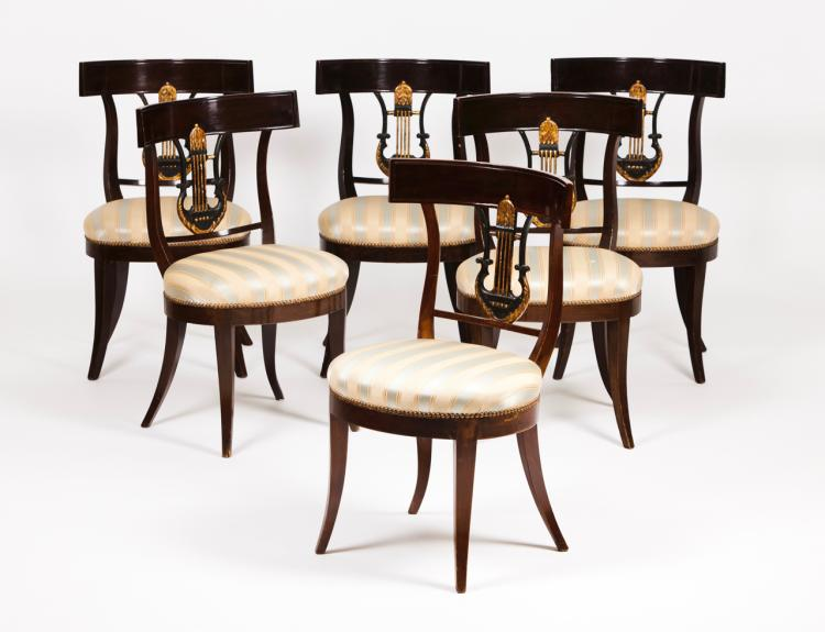 A set of six Bidermeier chairs