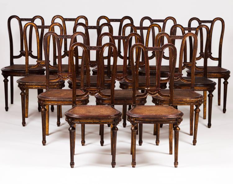 A set of fourteen Louis XVI style chairs
