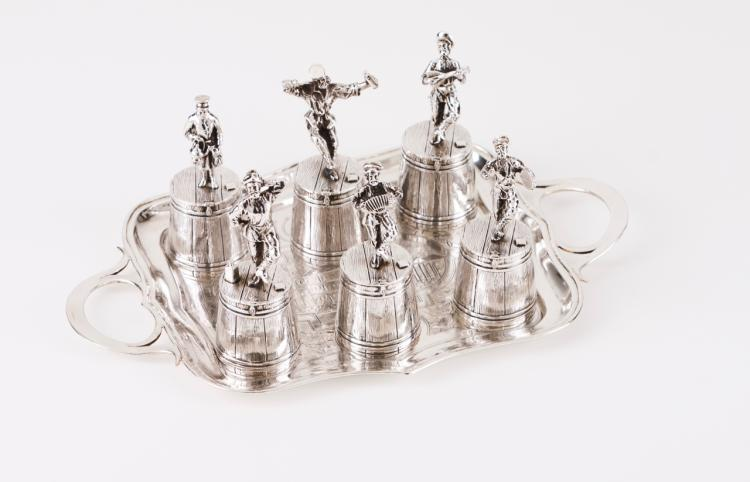 A set of six vodka cups with tray