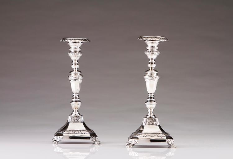 A pair of Romantic Portuguese silver candlesticks