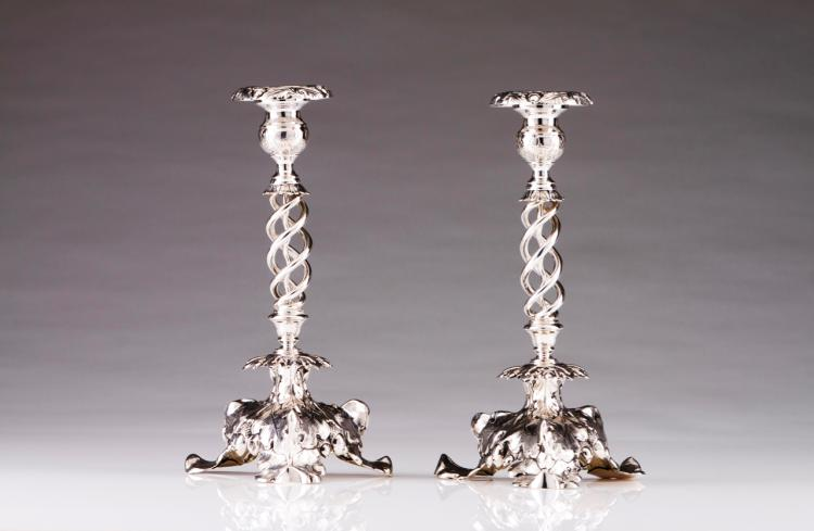 A pair of romantic candlesticks