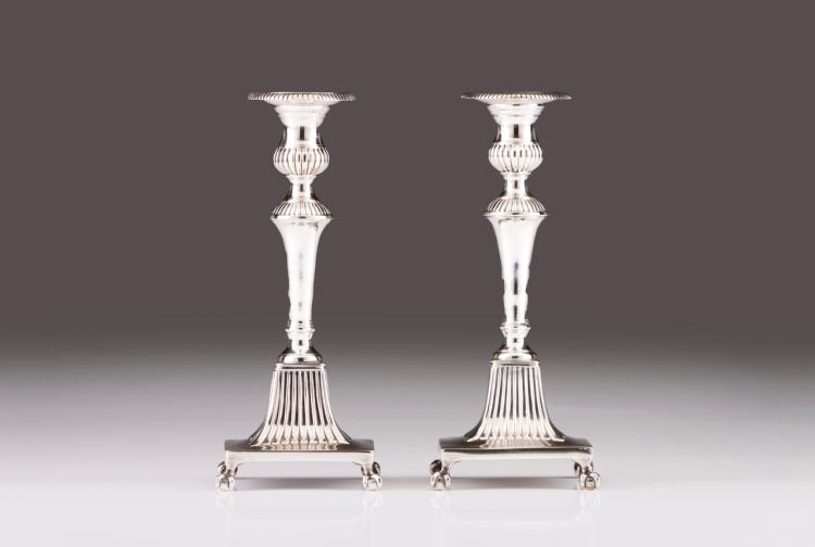 A pair of D. Maria style candlesticks
