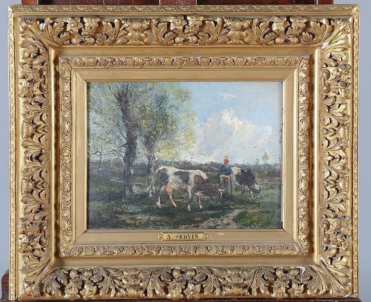 """A. SERVIN """"Bergère et son troupeau"""" Huile sur panneau signé en ba"""