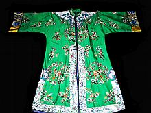 Rare Green Silk Chinese Robe, Qing Dynasty