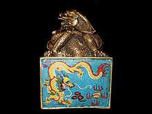 Cloisonne Dragon Rectangular Stamp
