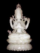 Antique Large White Jade Four-Armed Buddha