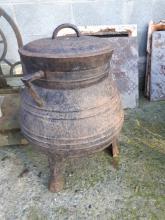 Unusual 19th. C. metal pot.