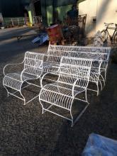 Three piece wrought iron garden set.