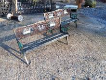 Small pair of decorative cast iron children's garden seats.