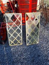 Pair of 19th. C. wrought iron diamond paned windows. { 61cm H X 38cm W }.