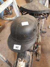 1950's leather and cork motorcycle helmet.