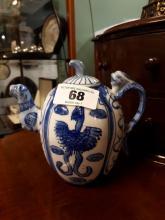 Oriental blue and white teapot.