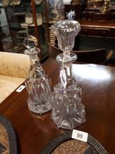 Two 19th. C.  bell shaped glass decanters.