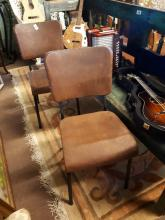 Pair of 1940's leather side chairs.
