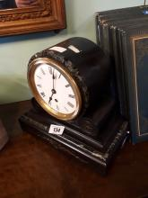 Victorian slate and marble drumhead clock.