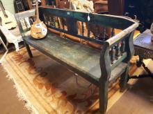19th. C. painted pine bench. { 124cm L }.