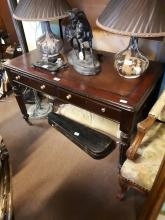William IV mahogany desk with inset leather top.