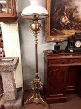 Exceptional quality 19th. C. brass standard lamp in the Adam's style, with