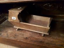 Early 19th. C. oak apprentice piece cradle.