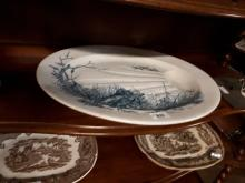 Large 19th. C. meat platter with gravy well.