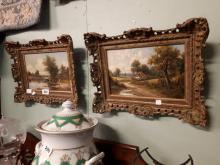 Pair of 19th. C. Oil on Canvas - Farmyard Scenes  - New Rochester H Maidwar