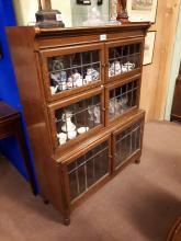 1940's oak stacking bookcase with leaded glass doors.