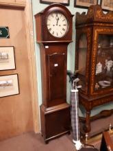 Georgian mahogany long cased drum head clock with painted round dial, Dubli