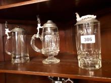 Three 19th. C. glass German beer tankards.