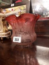 19th. C. ruby glass tulip shade.