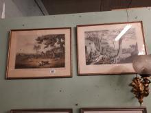 Two coloured caricature prints - Enjoying An Irish Wake Co Waterford Irelan