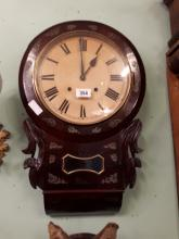 19th. C. rosewood drop dial wall clock with brass inlay.