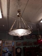 Decorative early 20th. C. Waterford crystal and brass hanging lightshade.