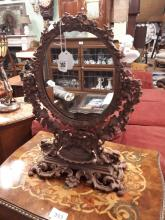 19th. C. cast iron cheval mirror.