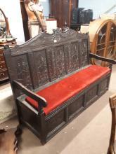 18th. C. carved oak settle bench.