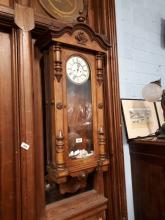 19th. C. walnut double weighted Vienna wall clock.