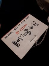 David Bowie. Slane Sat 11 July 1987.  Book of tickets stubs.