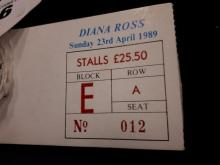 Diana Ross. Sunday 23rd. April 1989. Book of Stall tickets stubs.