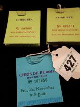 Chris De Burgh 21st November  Book of tickets stubs and Chris Ray 8th. Dece