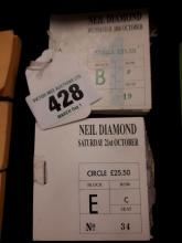 Neil Diamond 21st October Two books of Circle tickets stubs.