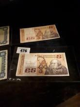 Two Irish O'Carolan  £ 5 notes - 13.7.92  &  8.4.93.