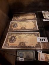 Three Lady Lavery £ 5 notes - 3. 4.73,  26.5.74  & 5. 9.75.