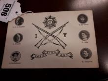 Original Sinn Fein Abù postcard depicting the leaders of the IV Division.