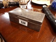 English silver cigarette box. Hallmarked in London marks rubbed.