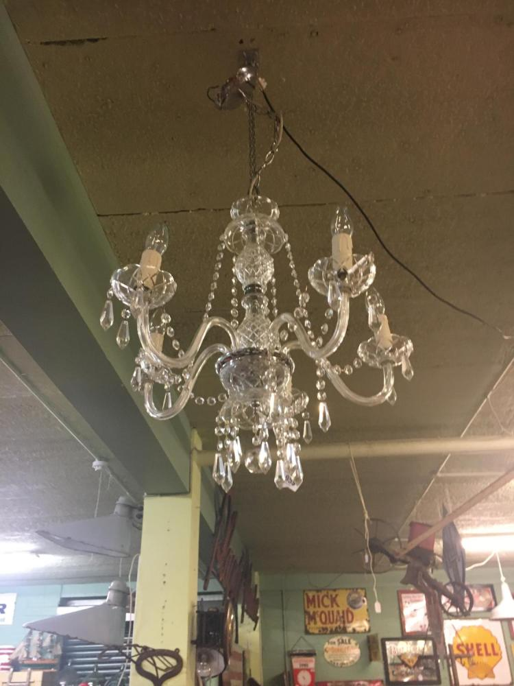 Five branch cut glass chandelier - Chandelier a 5 branches ...