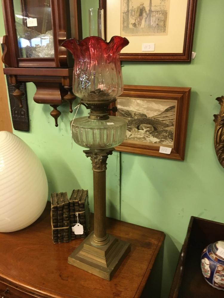 Victorian Corinthian Column Brass Table Lamp With Cut Glass Bowl And