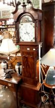 19th. C. mahogany long cased clock with painted arched dial. { 226cm H }