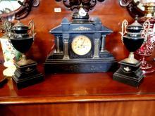19th. C. slate and marble clock garniture set.