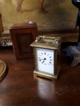 19th. C. Carriage clock in original leather case.