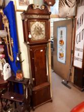 19th. C. oak longcase clock with square brass and silver dial James Wilson