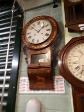 19th. C. inlaid walnut drop dial clock.